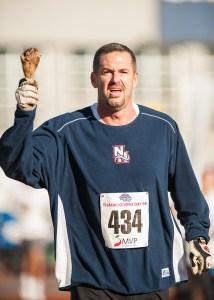 Turkey leg runner in the Millennium Running Thanksgiving Day 5k