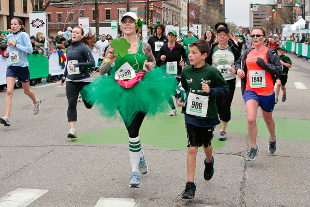 Theme costumed runners at annual Manchester Shamrock shuffle in NH