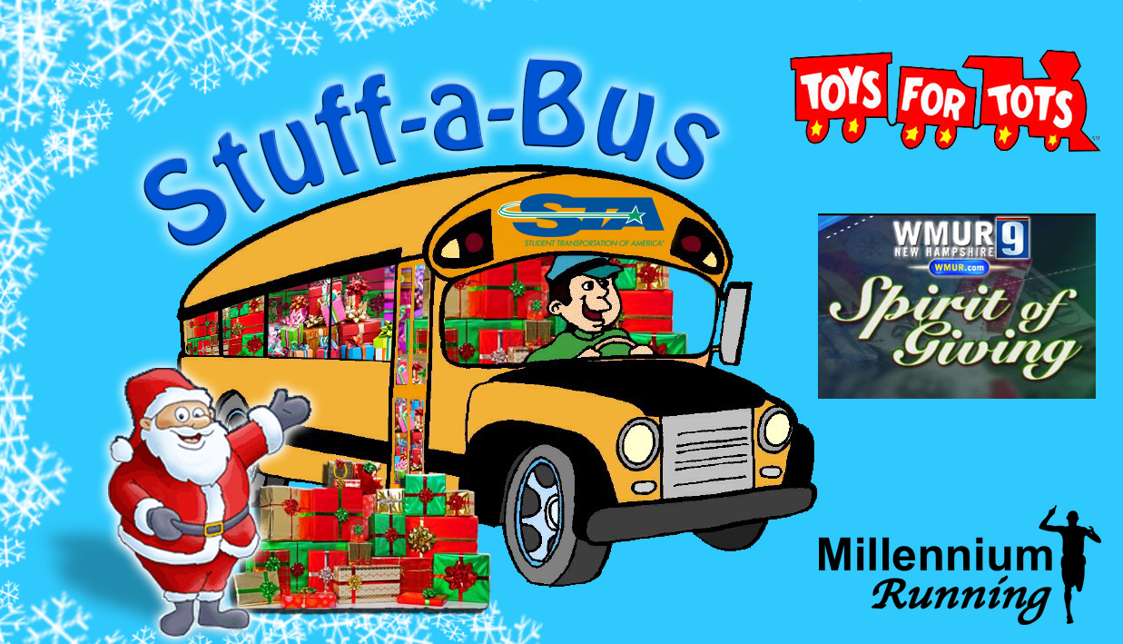 Stuff-a-Bus Toys For Tots, WMUR, Clear Channel, and Millennium Running
