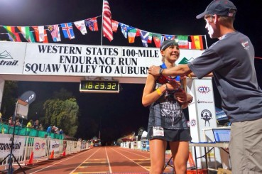 Larisa Dannis finishing 2nd in the Western States 100 Miler