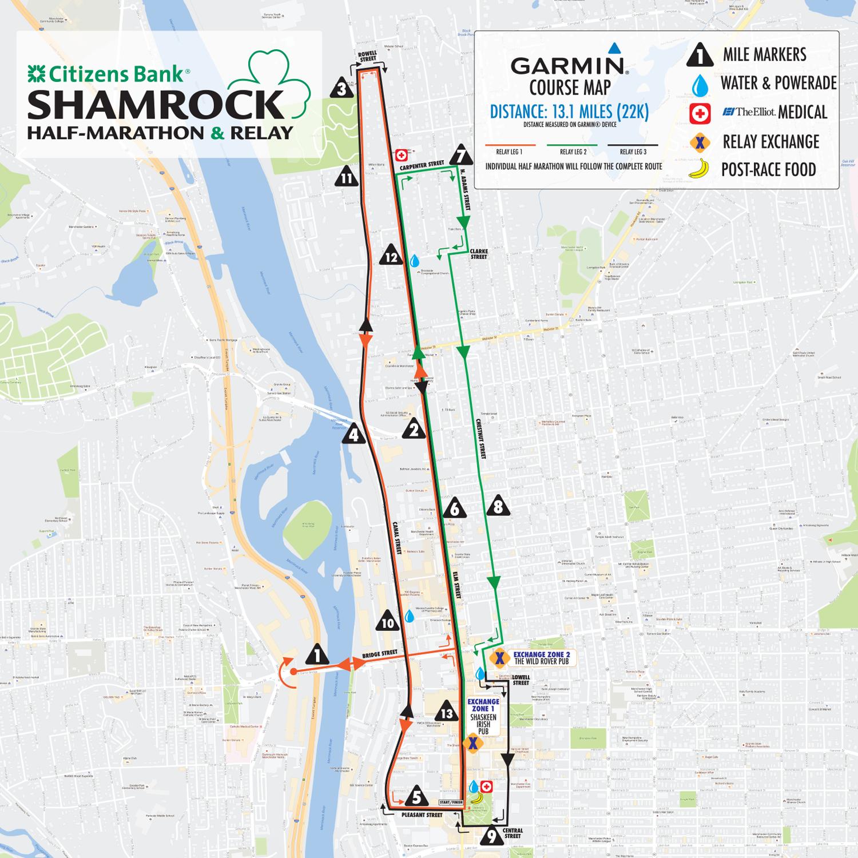 Citizens Bank Shamrock Half Marathon Relay Race Basic Rules Garmin Course Map